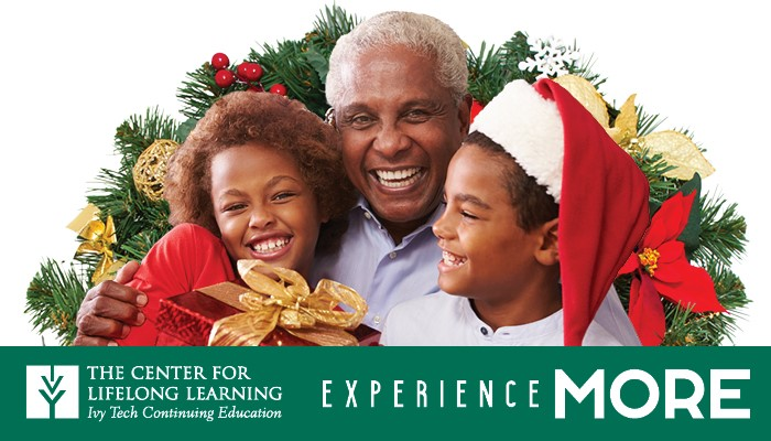 image of grandfather or father with children holding gifts, set in front of a holiday wreath